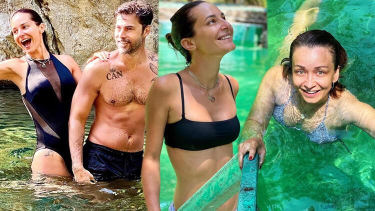Ünlü oyuncular tatilde... 5 yıldızlı otellerin aksine kampa gittiler!