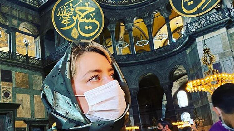 Amber Heard Ayasofya'yı ziyaret etti: Şanslıyım ki burayı gördüm