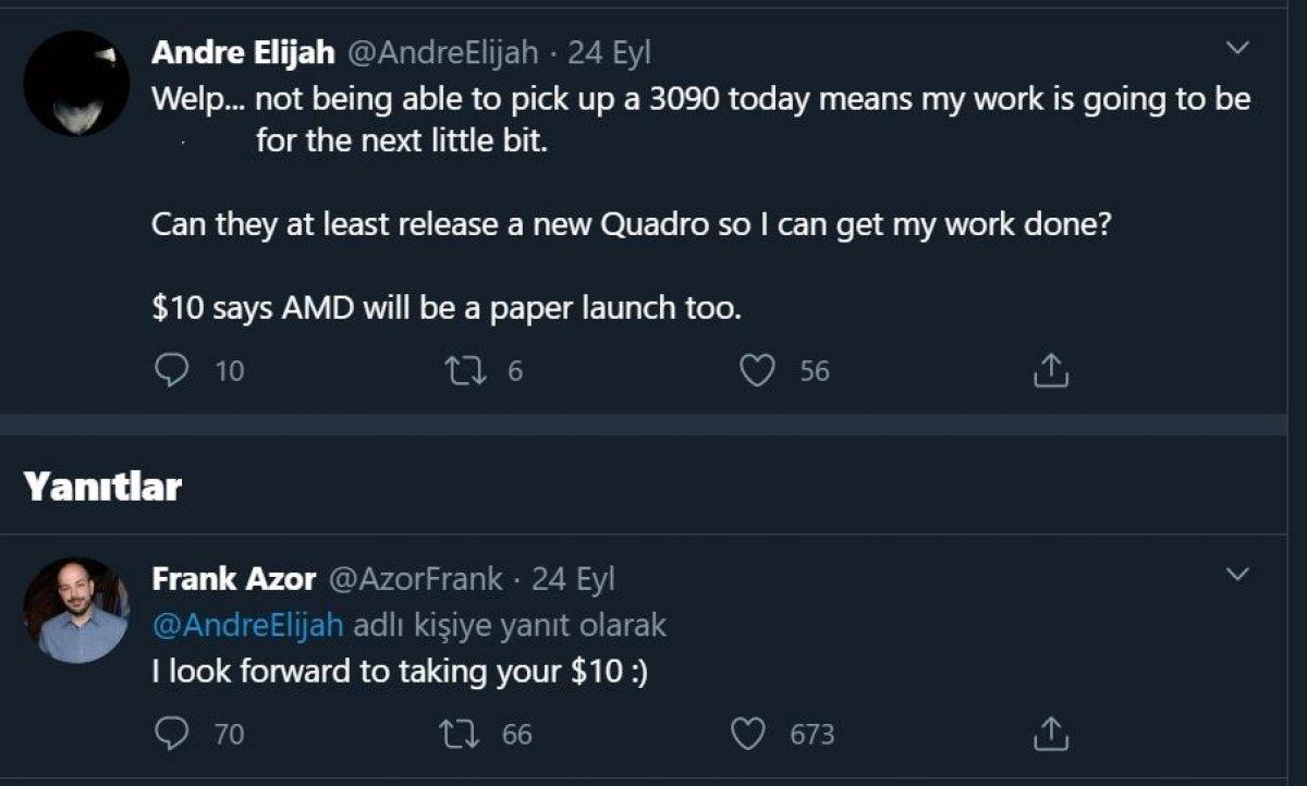 AMD, Nvidia'nın tedarik sorunlarına Twitter'dan gönderme yaptı